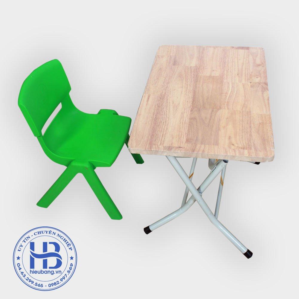 Bàn ghế gấp học sinh mặt gỗ thịt
