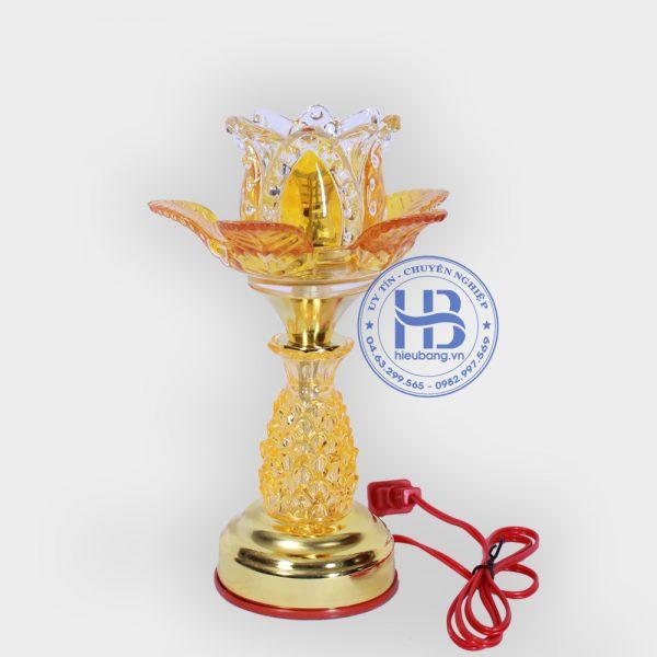 Đèn thờ điện Led Pha lê 1 bông vàng 20cm