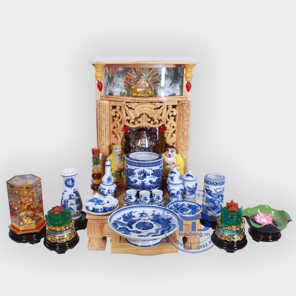 Bộ bàn thờ thần tài đẹp 41cm đầy đủ xanh