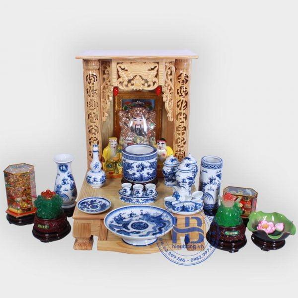 Bộ bàn thờ thần tài 48cm đầy đủ Xanh