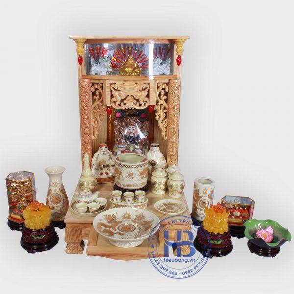 Bộ bàn thờ thần tài đẹp 48cm đầy đủ Vàng