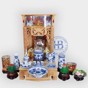Bộ bàn thờ thần tài đẹp 48cm đầy đủ Xanh