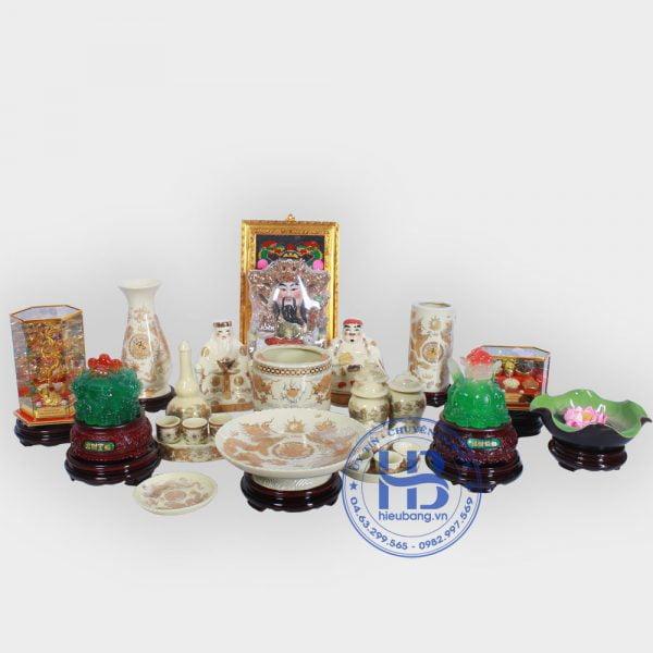 Bộ đồ thờ thần tài To đầy đủ Vàng