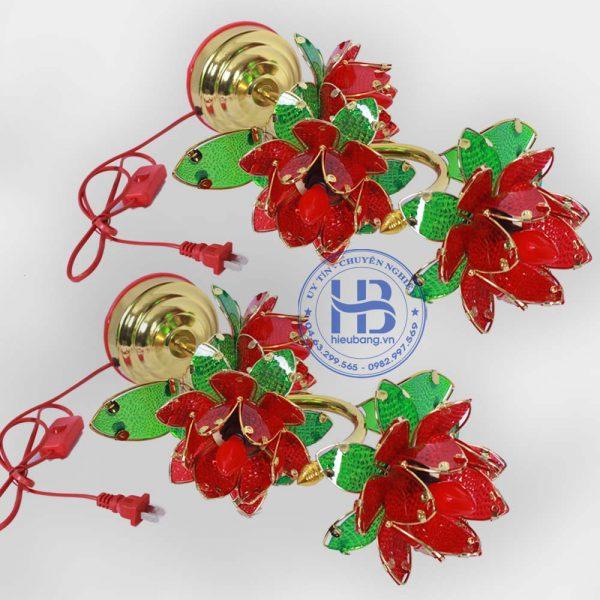 Đèn thờ hoa sen 3 bông đỏ 45cm
