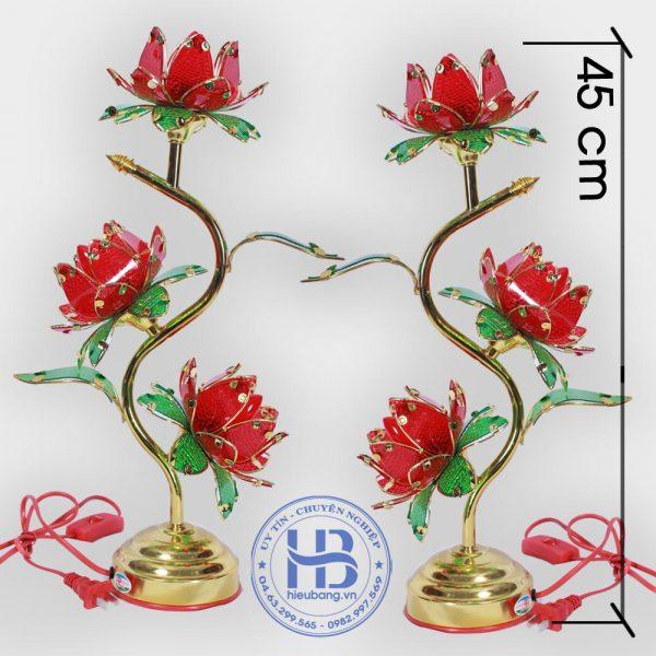 Đèn Thờ Hoa Sen 3 Bông Đỏ 45cm Đẹp Giá Rẻ ở Hà Nội | Cửa hàng Hiếu Bằng