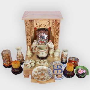 Bộ bàn thờ thần tài 48cm đầy đủ vàng