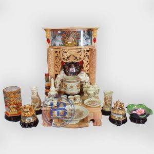 Bộ bàn thờ thần tài đẹp 41cm đầy đủ vàng