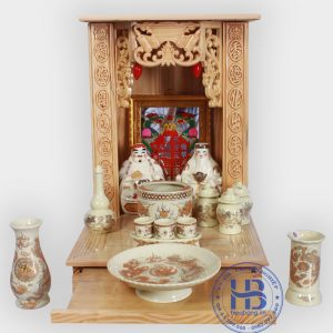 Bộ bàn thờ thần tài giá rẻ 41cm cơ bản vàng