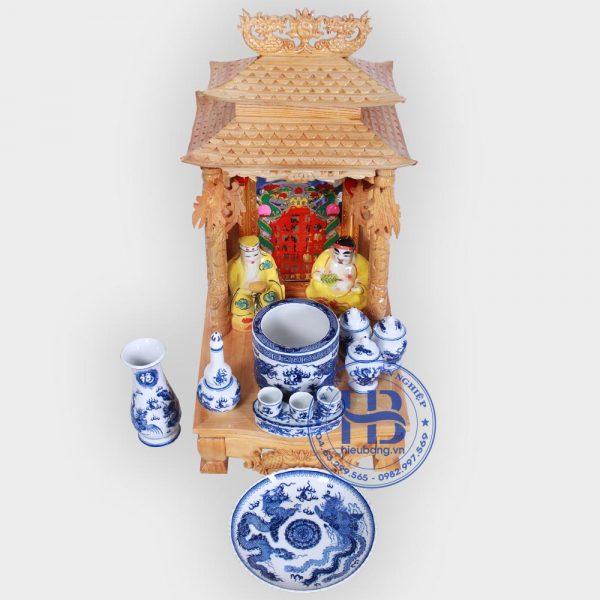 Bộ bàn thờ thần tài mái chùa 36cm cơ bản xanh