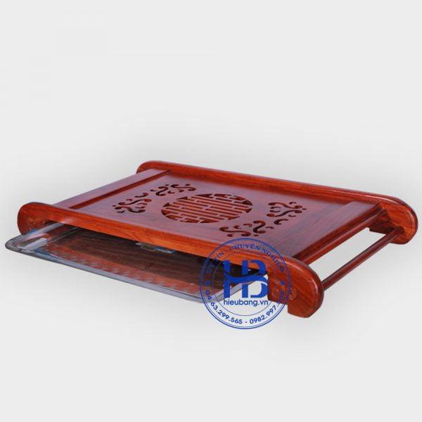 Khay trà gỗ hương chân cuốn 68x37cm
