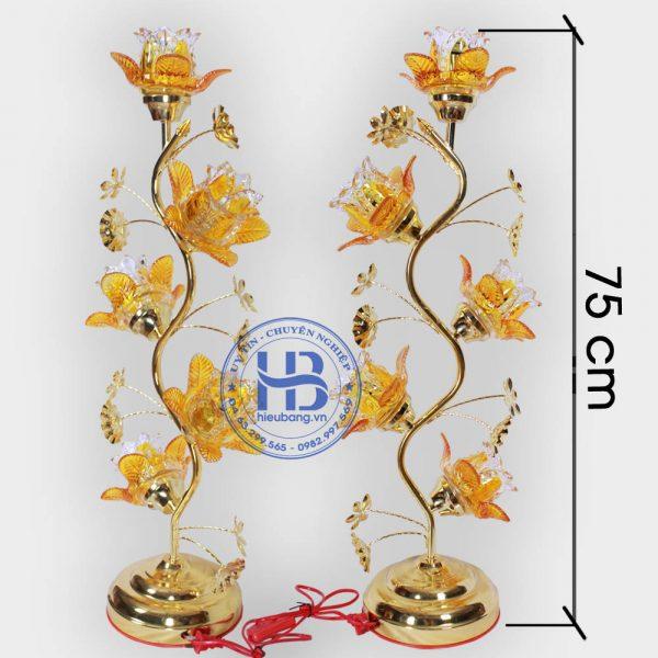 Đèn Thờ Hoa Sen 5 Bông Vàng Thủy Tinh bóng Led Đẹp Giá Rẻ Tại Hà Nội