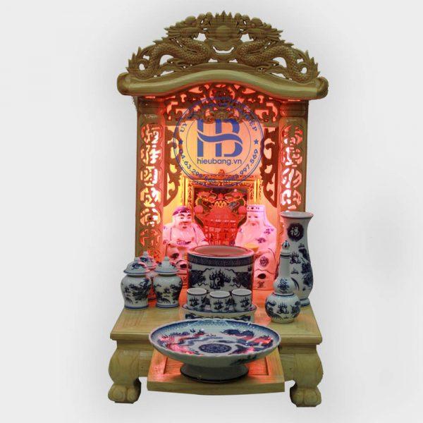 Bộ Bàn Thờ Thần Tài Nóc Cong 41cm Cơ Bản Xanh | Cửa hàng Hiếu Bằng