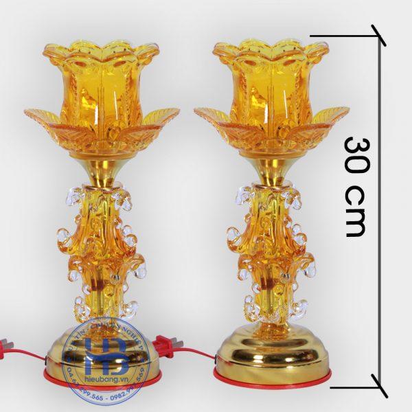 Đèn thờ thủy tinh 1 bông Vàng 30cm Đẹp Giá Rẻ ở Hà Nội | Cửa hàng Hiếu Bằng