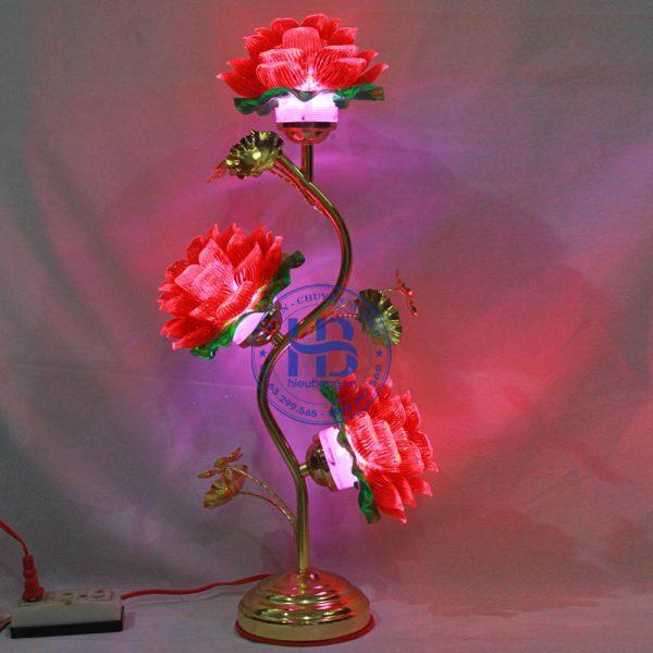 Đèn Thờ Led Hoa Sen 3 bông đỏ 55cm Đẹp Giá Rẻ ở Hà Nội | Cửa hàng Hiếu Bằng