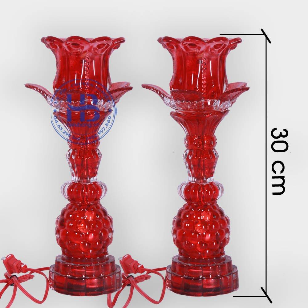 Đèn Thờ Led 1 Bông Thủy Tinh Đỏ 30cm Đẹp Giá Rẻ ở Hà Nội | Cửa hàng Hiếu Bằng