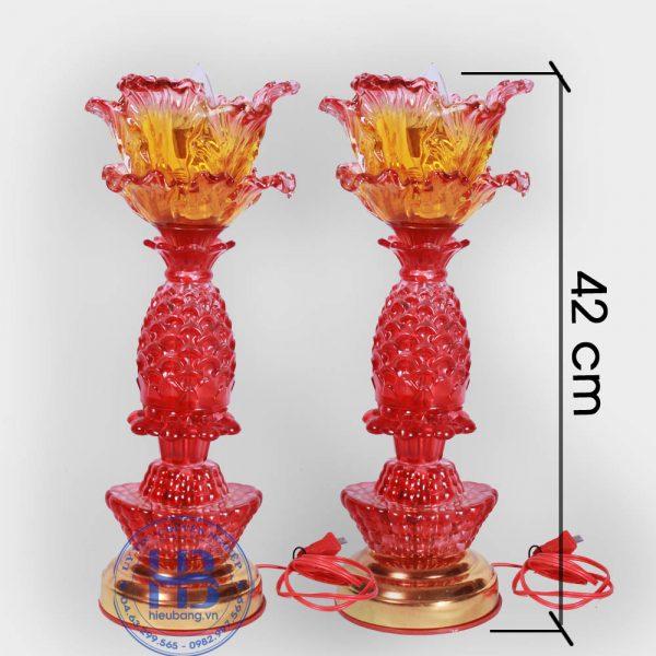 Đèn Thờ Led 1 Bông Thủy Tinh Đỏ 42cm Đẹp Giá Rẻ ở Hà Nội | Cửa hàng Hiếu Bằng