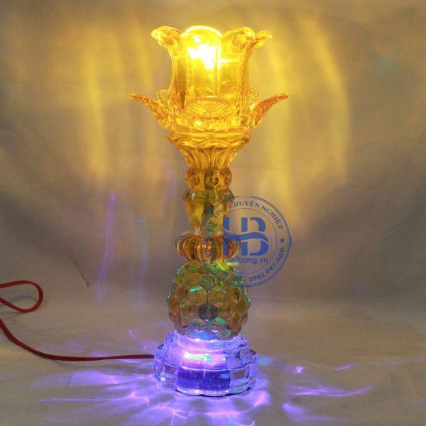 Đèn Thờ Led 1 Bông Thủy Tinh Vàng 30cm Đẹp Giá Rẻ ở Hà Nội | Cửa hàng Hiếu Bầng