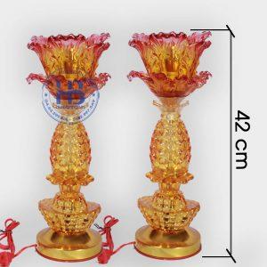 Đèn Thờ Led 1 Bông Thủy Tinh Vàng 42cm Đẹp Giá Rẻ ở Hà Nội | Cửa hàng Hiếu Bằng