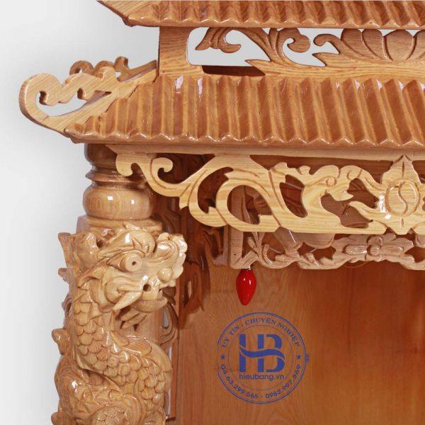 Bàn Thờ Thần Tài Cột Rồng 3 Mái Gỗ Pơmu Đẹp Giá Rẻ ở Hà Nội | Cửa hàng Hiếu Bằng