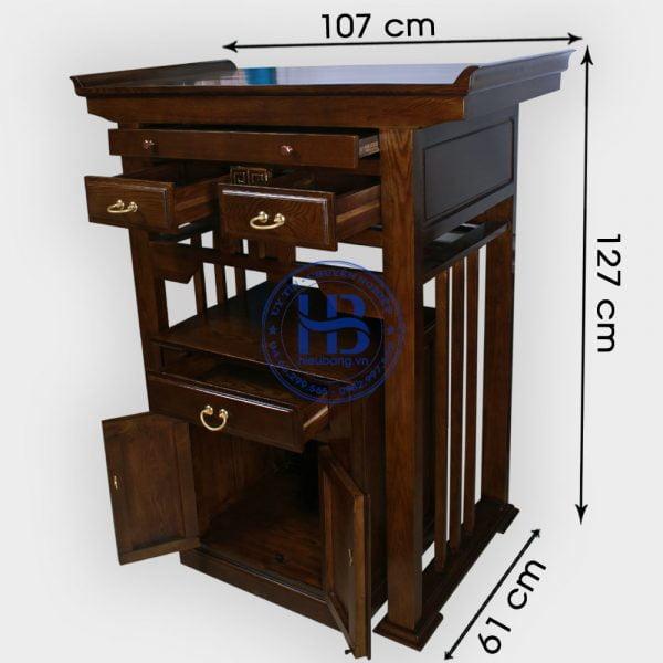 Bàn thờ chung cư màu óc chó 107cm gỗ Sồi đẹp giá rẻ ở Hà Nội | Bàn thờ chân 107cm