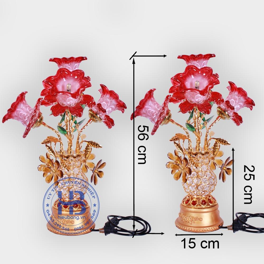 Bình Hoa Sen Thủy Tinh 5 Bông Đỏ 56cm Đẹp Giá Rẻ ở Hà Nội | Cửa hàng Hiếu Bằng