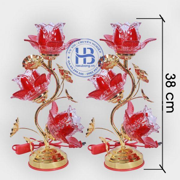 Đèn Thờ Điện Led Pha Lê 3 Bông 38cm Đỏ Đẹp Giá Rẻ ở Hà Nội | Cửa hàng Hiếu Bằng