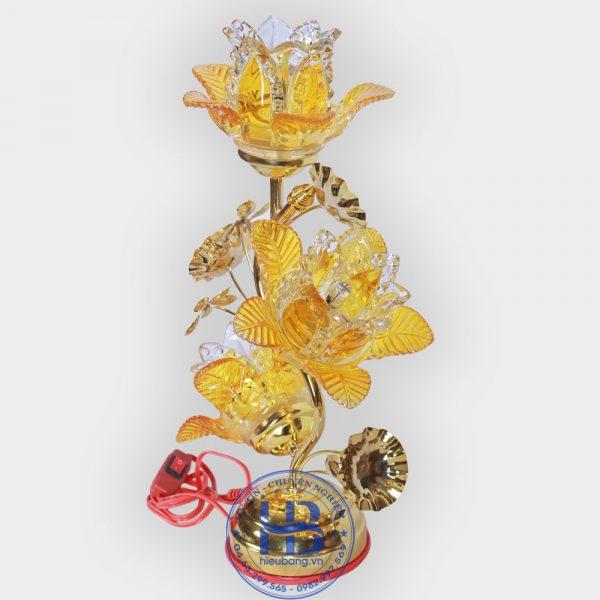 Đèn Thờ Điện Led Pha Lê 3 Bông 38cm Vàng Đẹp Giá Rẻ ở Hà Nội   Cửa hàng Hiếu Bằng