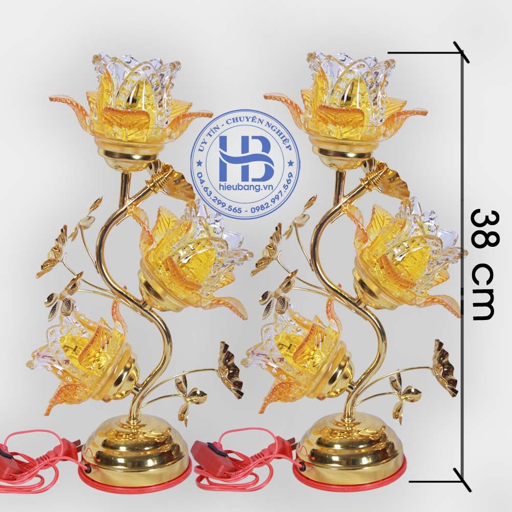 Đèn Thờ Điện Led Pha Lê 3 Bông 38cm Vàng Đẹp Giá Rẻ ở Hà Nội | Cửa hàng Hiếu Bằng