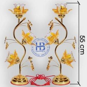 Đèn Thờ Điện Led Pha Lê 3 Bông 55cm Vàng Đẹp Giá Rẻ ở Hà Nội | Cửa hàng Hiếu Bằng