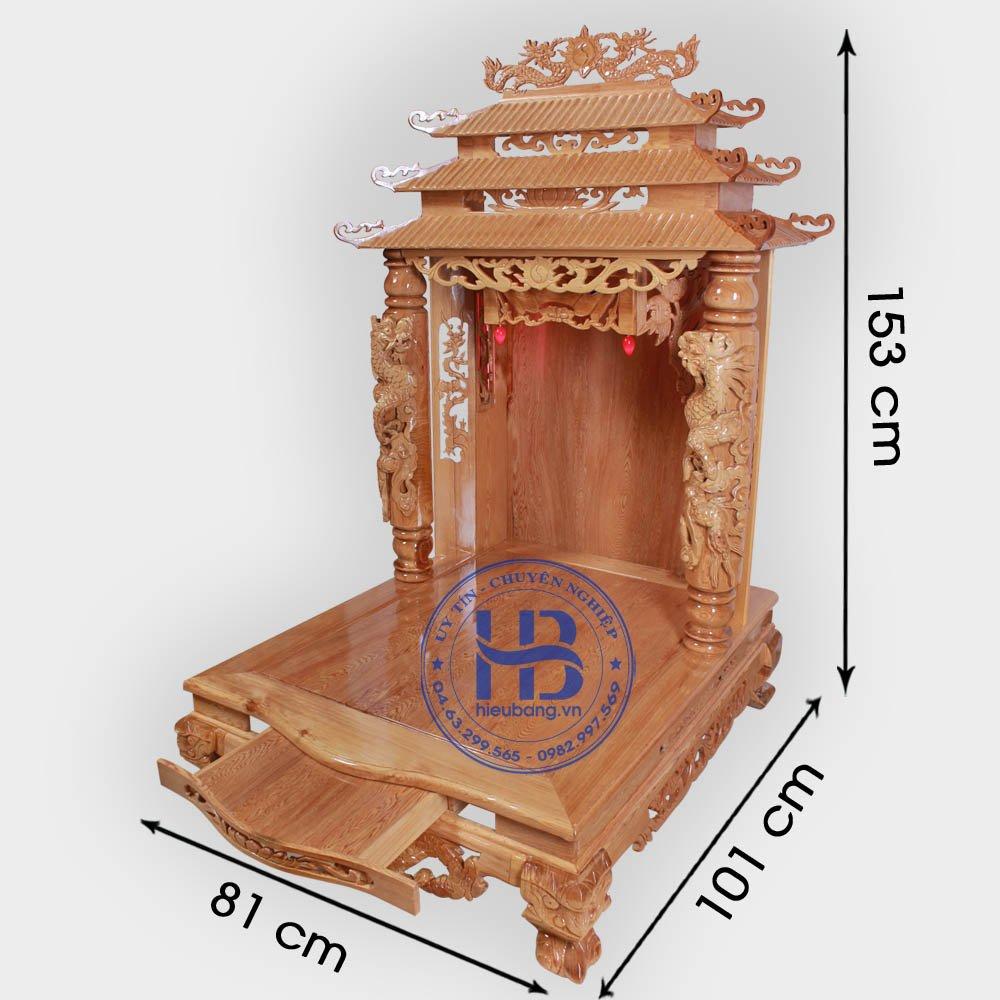 Bàn Thờ Thần Tài Cột Rồng Gỗ Pơmu 81cm Đẹp GIá Rẻ ở Hà Nội | Cửa hàng Hiếu Bằng