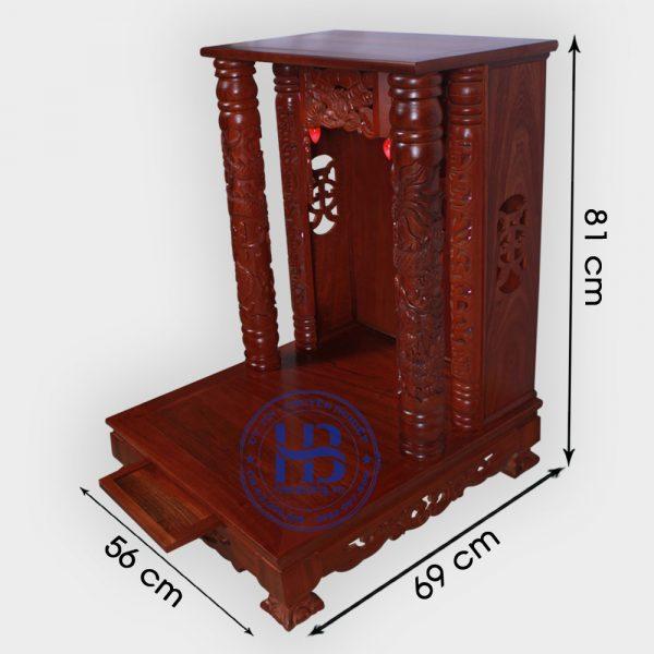 Bàn Thờ Thần Tài Mái Bằng Gỗ Lát Màu Gụ 56cm Đẹp Giá Rẻ ở Hà Nội