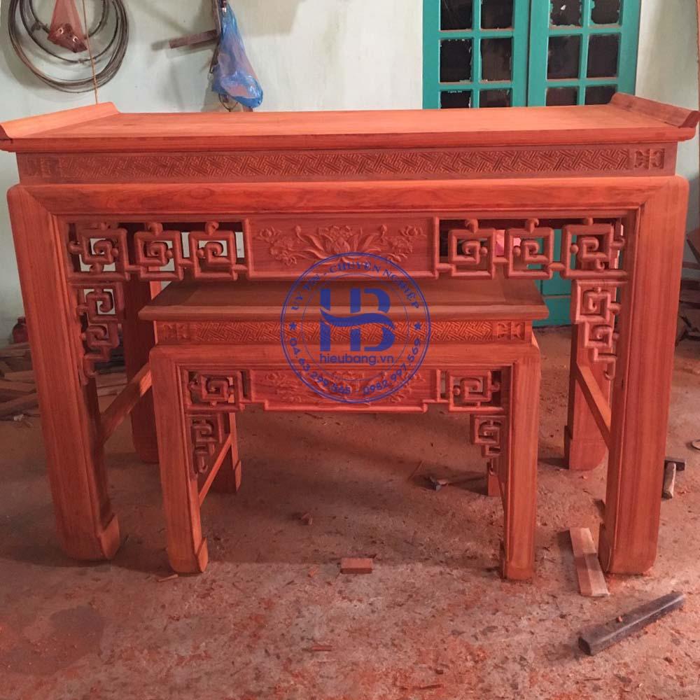 Bàn thờ gỗ hương đỏ đẹp giá rẻ ở Hà Nội | Top 10 mẫu bàn thờ bán chạy | Cửa hàng Hiếu Bằng