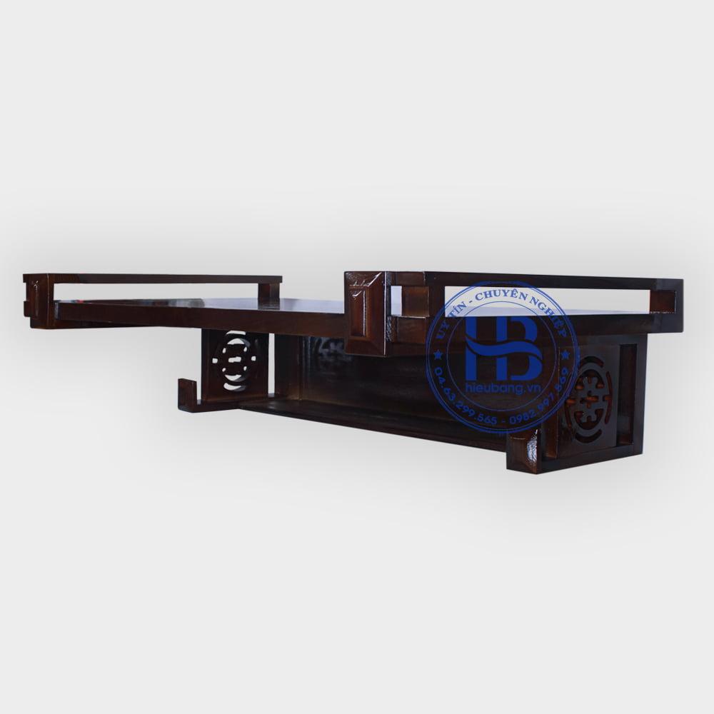 Bàn thờ treo tường gỗ sồi màu óc chó 81x48cm | Top 10 mẫu bàn thờ treo đẹp giá rẻ ở Hà Nội