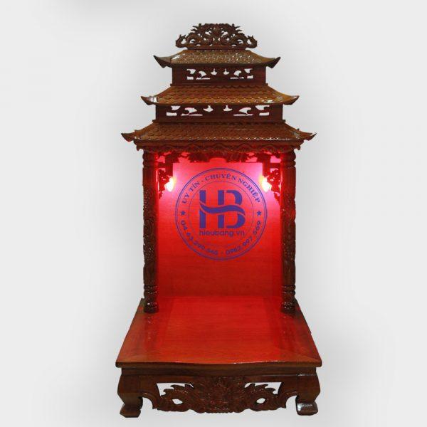 Bàn thờ thần tài mái chùa gỗ xoan đào 48cm đẹp giá rẻ ở Hà Nội | Bàn thần tài