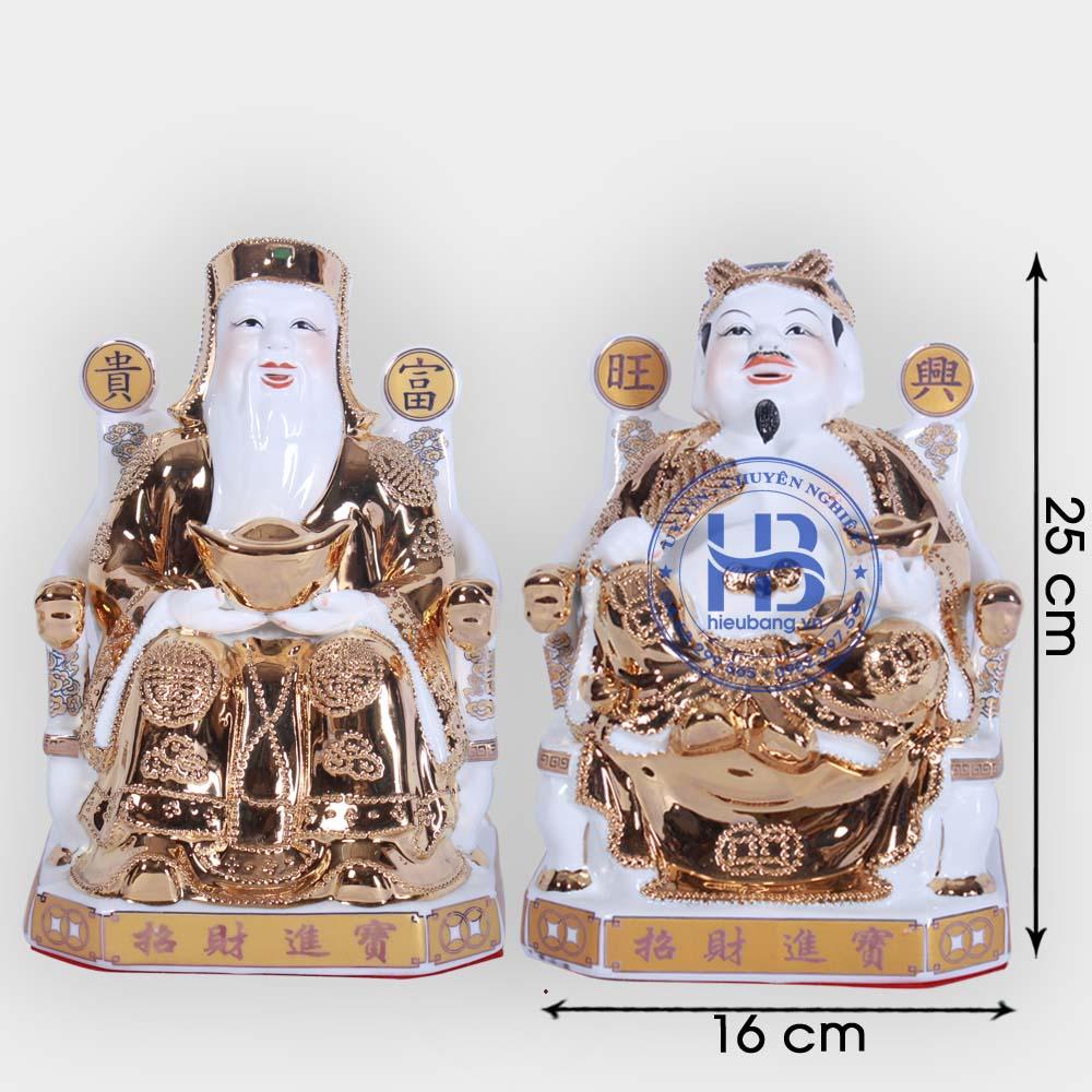 Cặp thần tài ông địa vàng kim cao cấp 25cm đẹp giá tốt ở Hà Nội