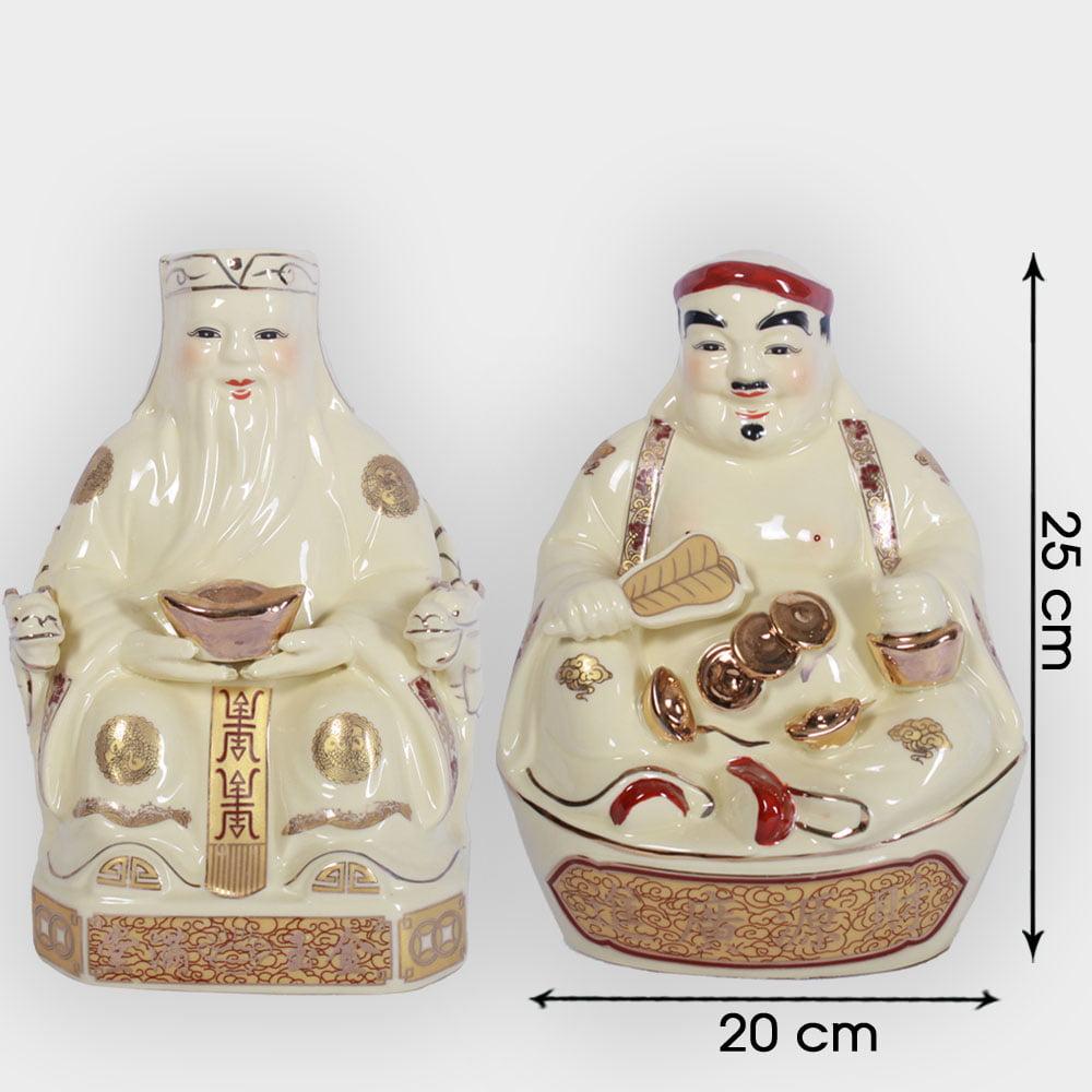 Cặp thần tài ông địa vàng 25cm đẹp giá tốt ở Hà Nội | Bộ đồ thờ thần tài đẹp
