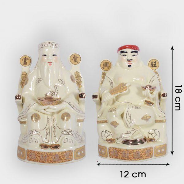 Cặp thần tài ông địa vàng ngồi ngai 18cm đẹp giá rẻ ở Hà Nội