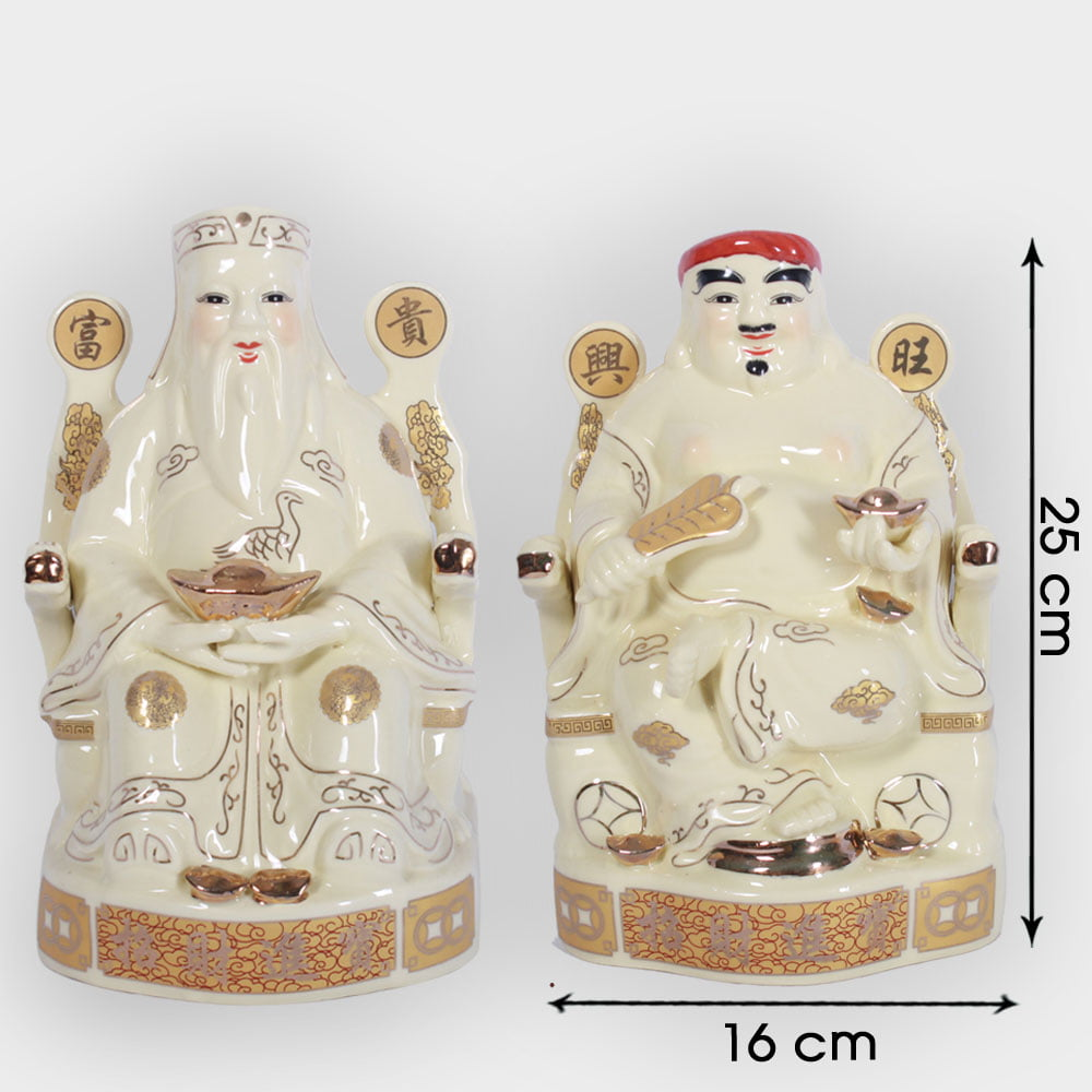 Cặp thần tài ông địa vàng ngồi ngai 25cm đẹp giá rẻ ở Hà Nội