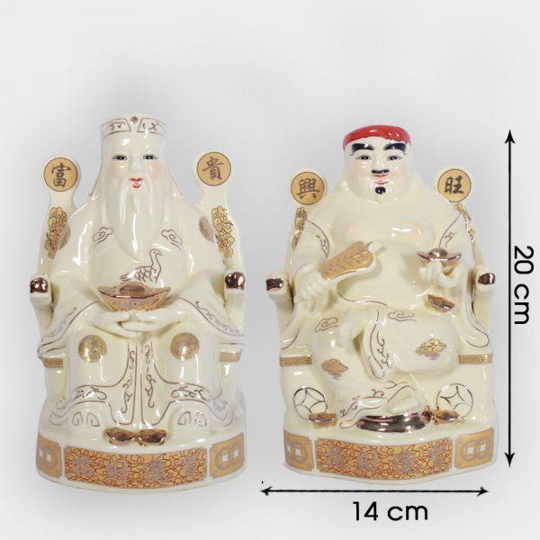Cặp thần tài ông địa vàng ngồi ngai 20cm đẹp giá rẻ ở Hà Nội