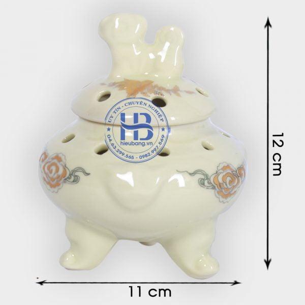 Lư xông trầm bằng sứ vàng 12cm đẹp giá rẻ ở Hà Nội