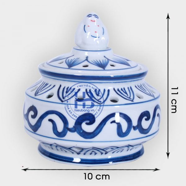 Lư xông trmaf bằng sứ Xanh 11cm đẹp giá rẻ ở Hà Nội