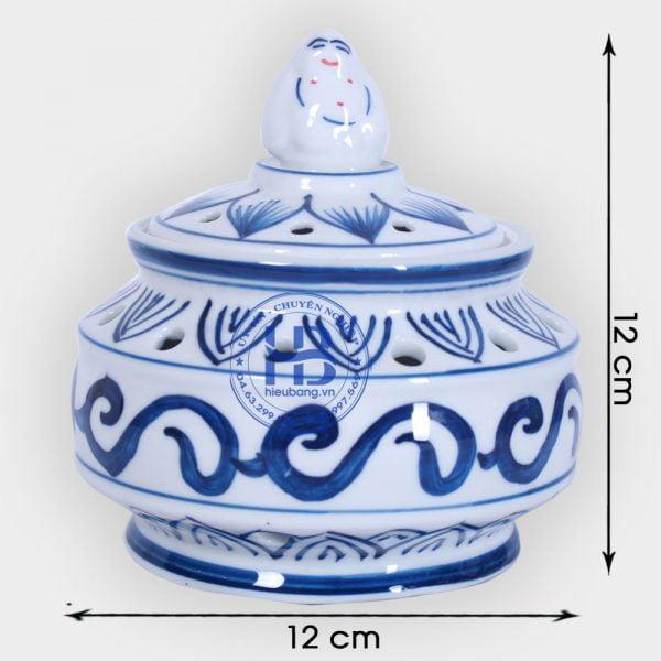 Lư xông trmaf bằng sứ Xanh 12cm đẹp giá rẻ ở Hà Nội