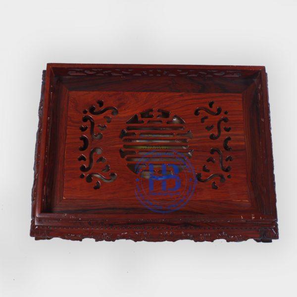 Khay trà gỗ Cẩm chạm rồng 38x28cm đẹp ở Hà Nội