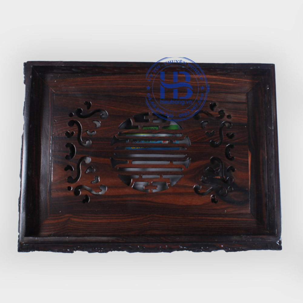 Khay trà gỗ Mun chạm rồng đẹp ở Hà Nội