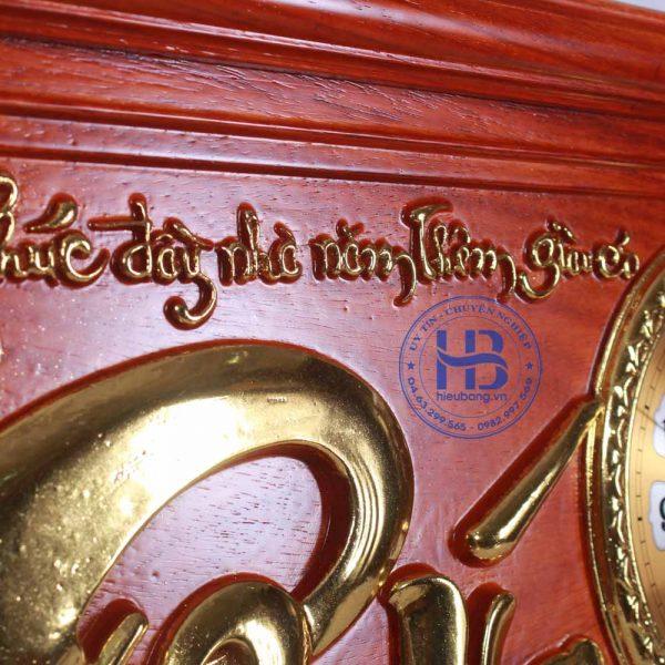 Tranh gỗ đồng đồng hồ chữ Phúc