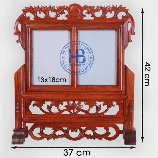 Khung ảnh thờ đôi gỗ Hương 13x18cm