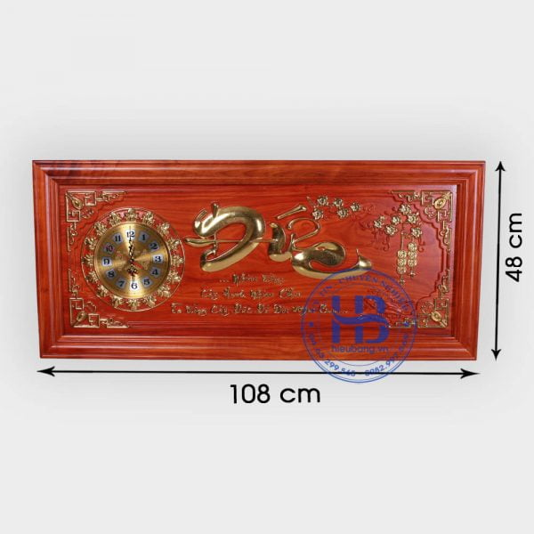Đồng hồ tranh gỗ Hương chữ Đức 48x108cm đẹp giá rẻ ở Hà Nội