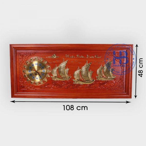 Đồng hồ tranh gỗ Hương Thuận Buồm Xuôi Gió 48x108cm đẹp giá rẻ ở Hà Nội