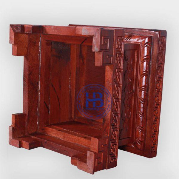 Đế vuông gỗ Hương chiện sen vuông 30cm