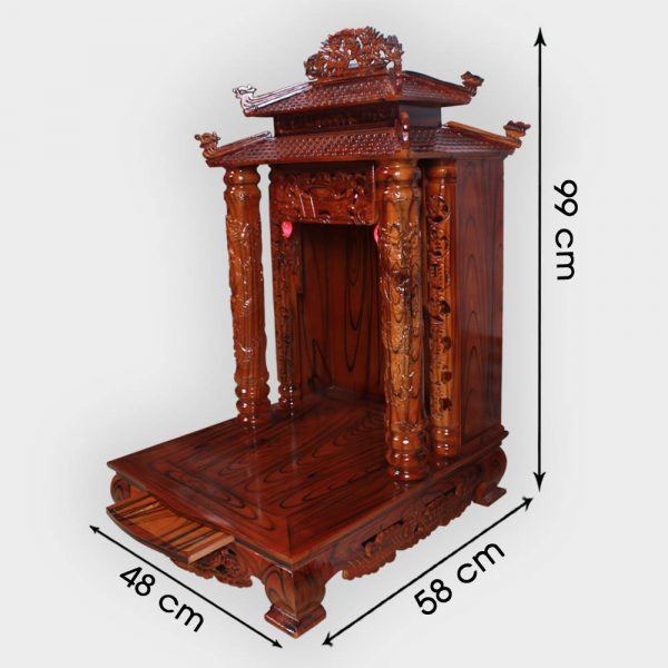 Bàn thần tài 8 mái gỗ thông 48cm đẹp giá rẻ ở Hà Nội